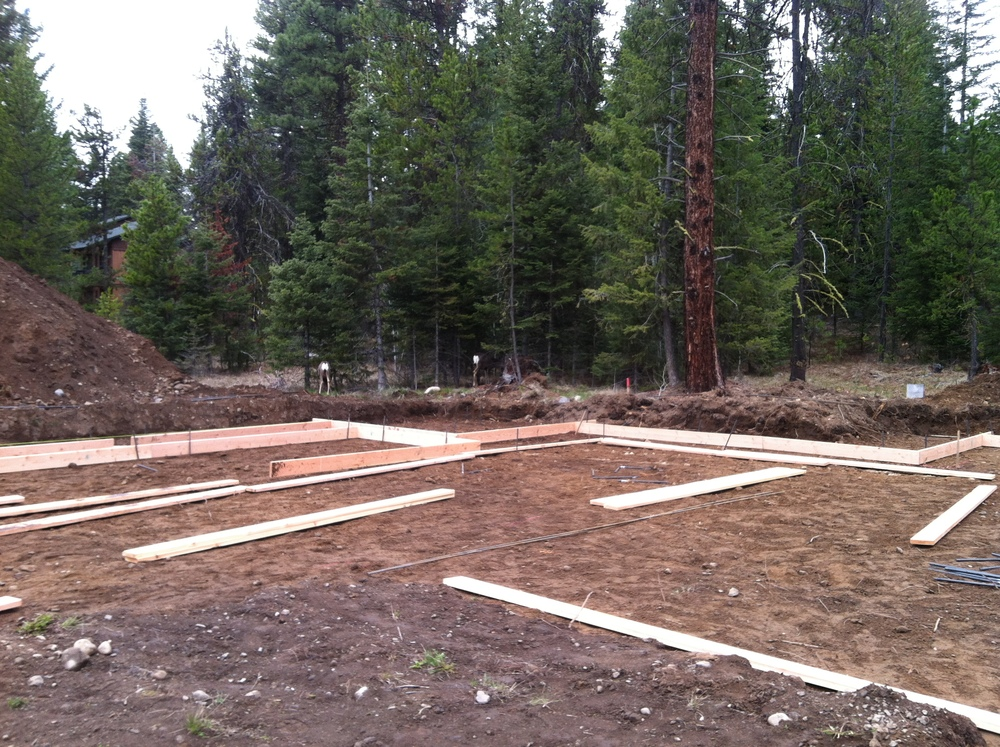 This is where it all starts.  Setting the footings.  Can you see the whitetail deer in the background?  They love our green homes.