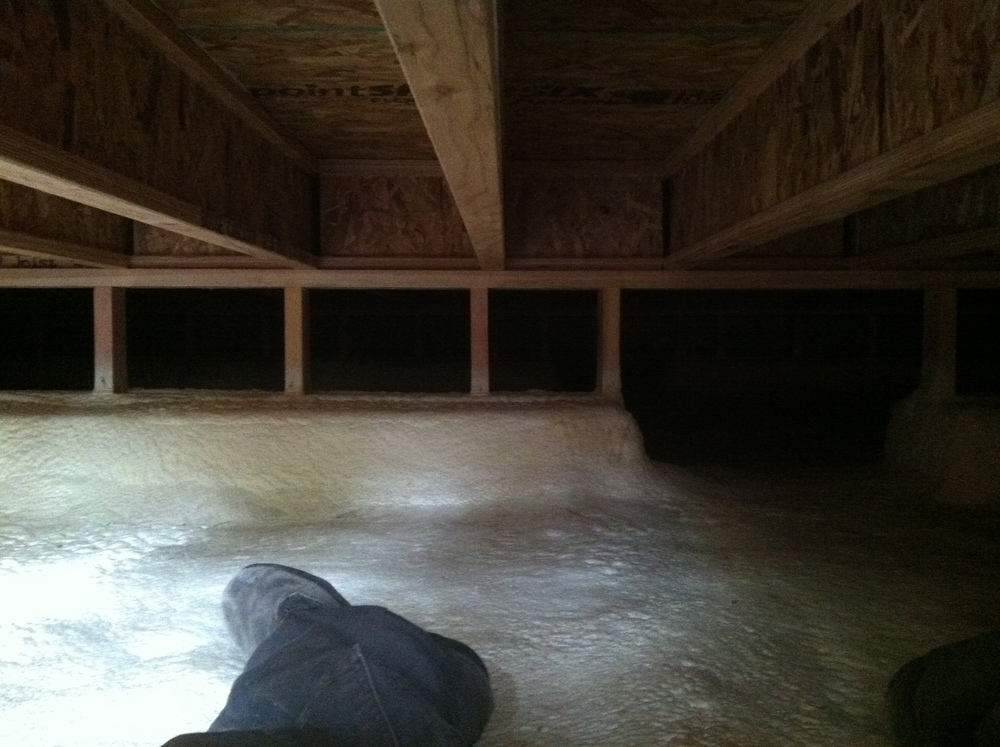 Here are some pictures of the crawlspace after the floor has been installed.