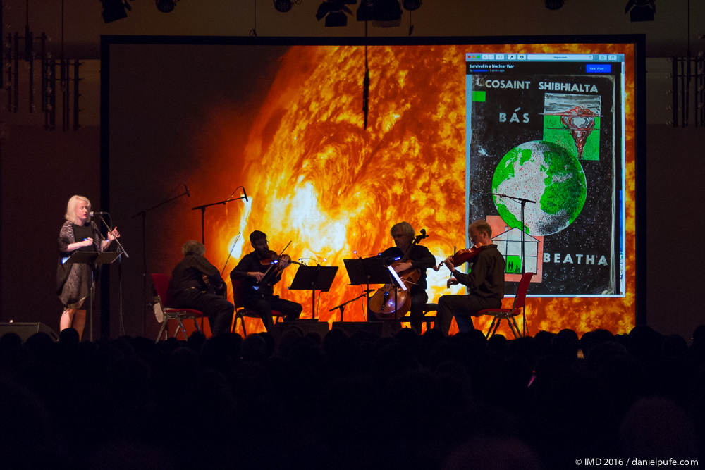 Jennifer Walshe and the Arditti Quartet performing  EVERYTHING IS IMPORTANT.  Photograph: IMD 2016/Daniel Pufe.