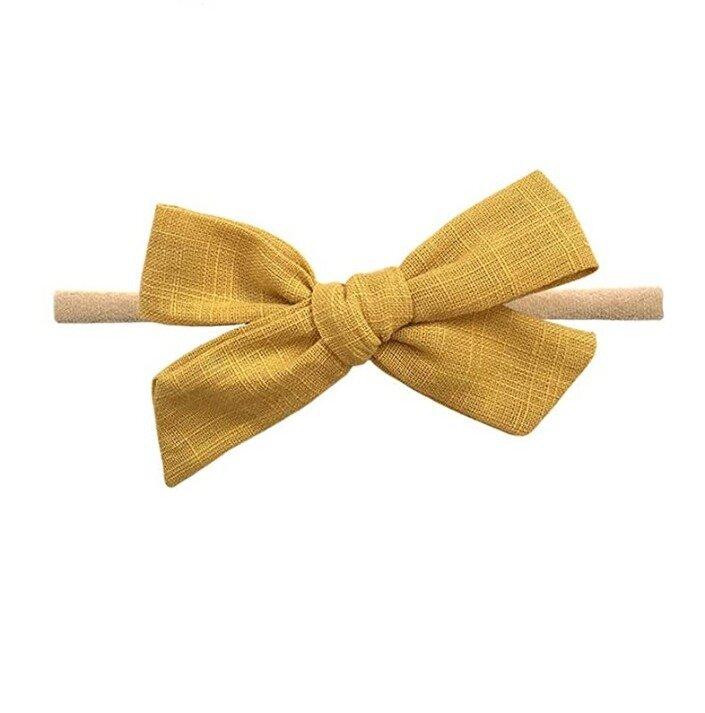 Mustard Linen Hand Tied Hair Bow