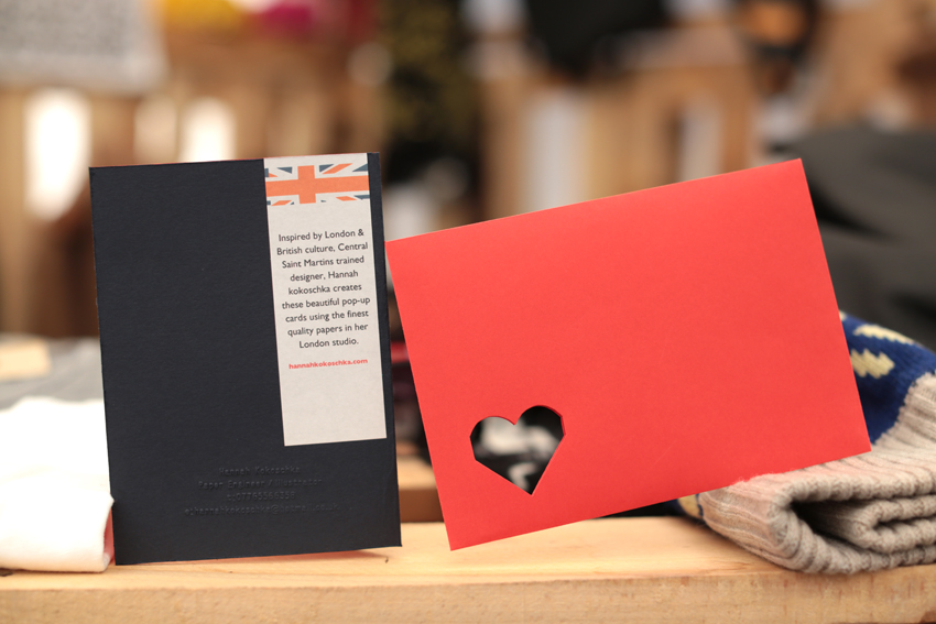 Hannah Kokoschka pop-up heart greetings cards at Lovebox festival