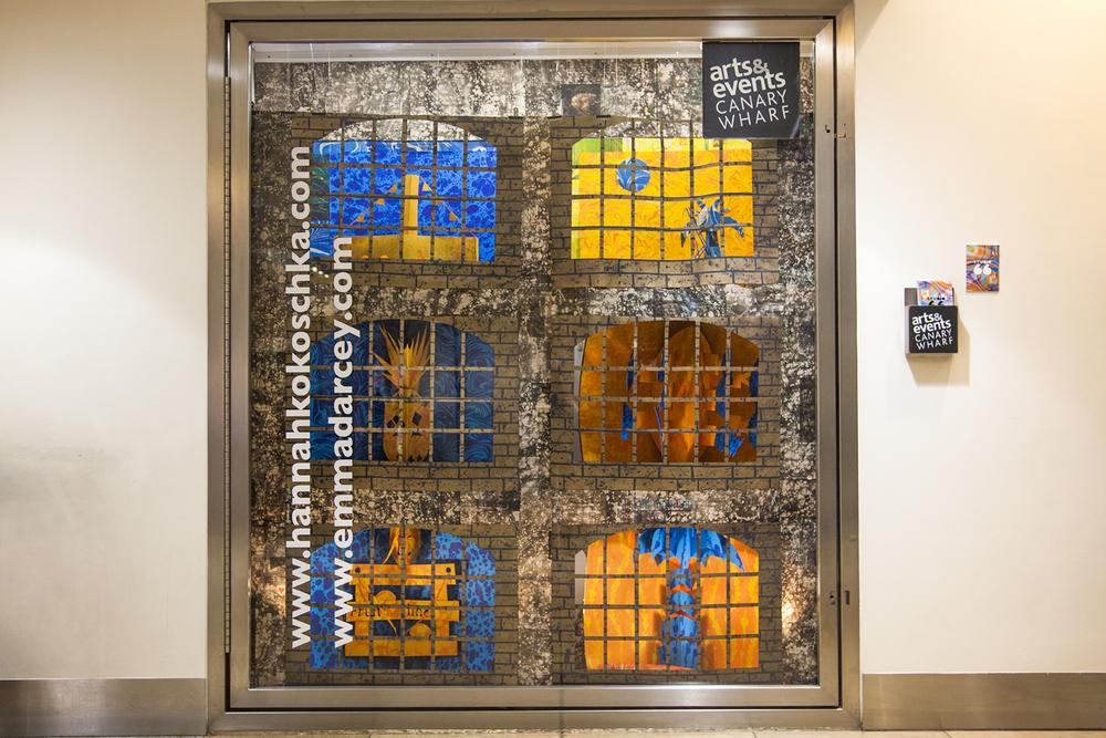 Hannah Kokoschka and Emma D'Arcey pop-up marbled Window display, Canary Wharf, London
