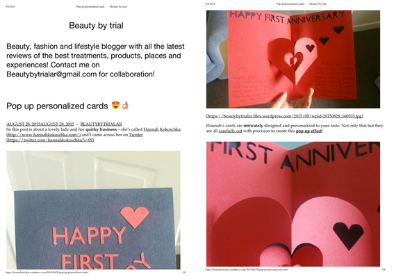 Beauty by trial - Hannah Kokoschka heart pop-up cards