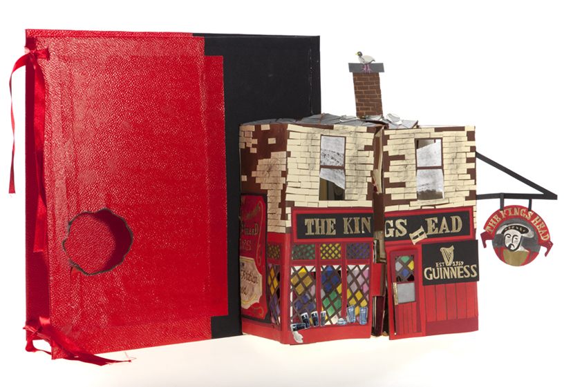 Client: Macmillan                                                                                                           Pop-up pub (in book format) reflecting a dilapidated London, East End pub.