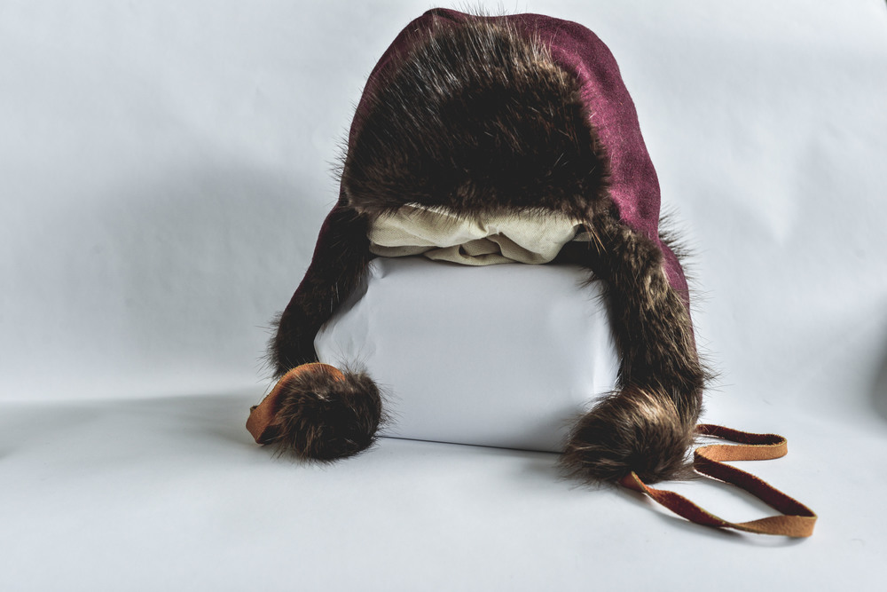 Beaver Trappers Cap with Leather, Beaver Fur and Wool Melton $150