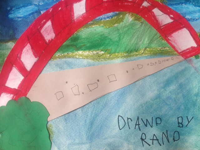 This is one example of work from a kindergarten student who learned about perspective, and showing distance in their work. This work was created over several class periods and is a depiction of the Austin 360 bridge.