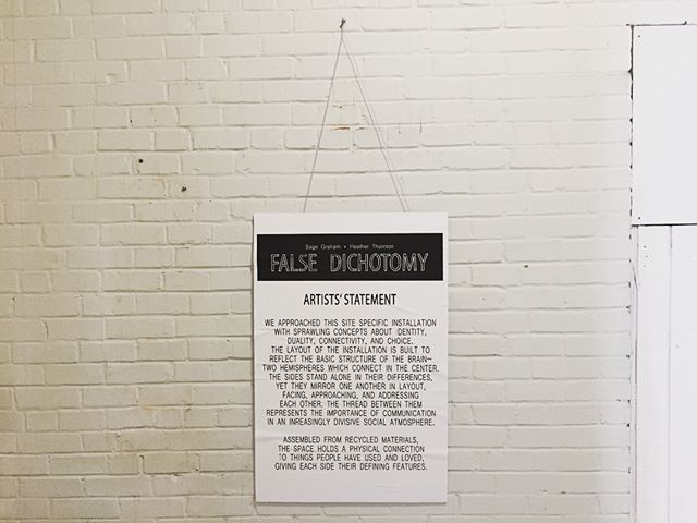 "Go check out @nchasarts new show, ""False Dichotomy"" at the old fire station at 2006 Reynolds Ave, North Charleston, SC."
