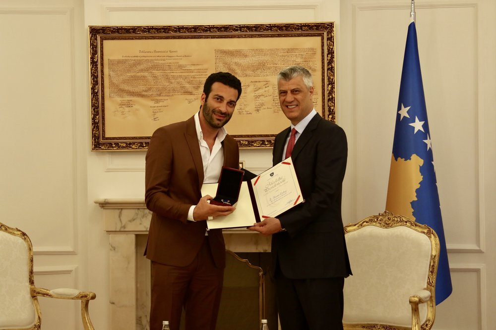 Rame Lahaj, receiving the Presidential Medal for Kosovo's affirmation in the world by the Kosovan President, Hashim Thaçi.