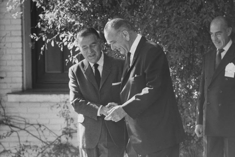 President of Peru, Fernando Belaúnde, and US President Lyndon B. Johnson, at the White House