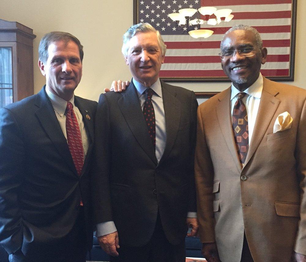 Senator Christopher Stewart (R-Utah) and representative Gregory Meeks (D-NY), and Peruvian Ambassador to the United States, Carlos Pareja
