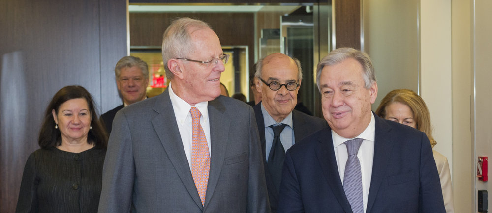 President of Peru, Pedro Pablo Kuczynski (left) FA Minister Ricardo Luna (center) and UN Secretary General Antonio Guterres (right).