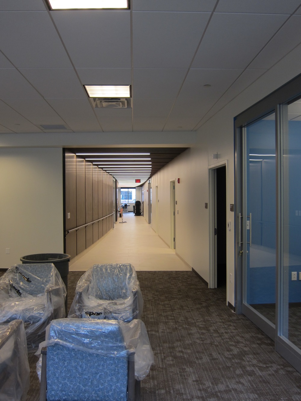 The main corridor connecting the large group activities area to the dining area.