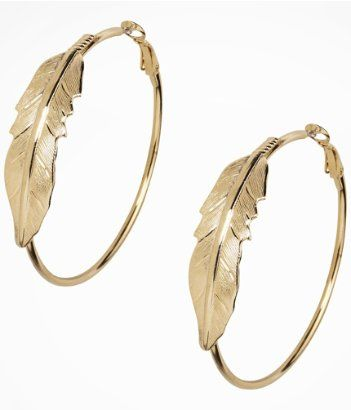 Express Gold Leaf Earring: Gold hoops should be a staple in every gals jewelry box. The leaf detail is chic yet simple