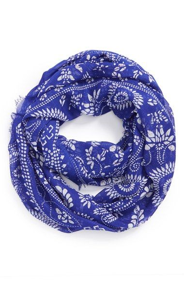 Nordstrom's BP Floral Print Frayed Infinity Scarf's design is not overpowering and will add a pop of color to an all white outfit