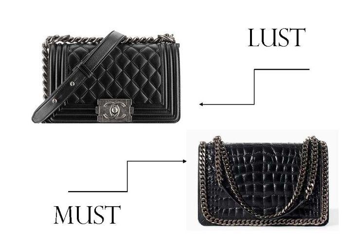 Lust: Chanel Small Boy Bag    Must: Zara Crocodile Leather City Bag