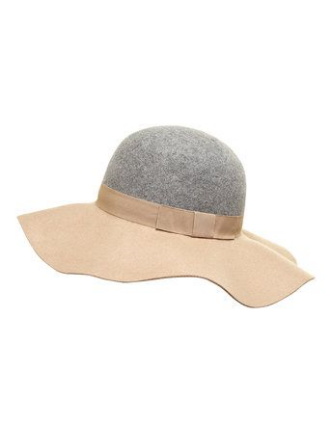 Dorothy Perkins Grey and Camel Floppy Hat $28