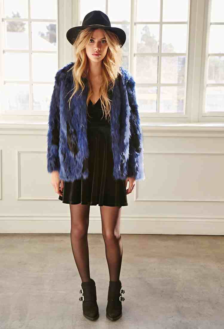 Forever 21 Navy Faux Fur Coat