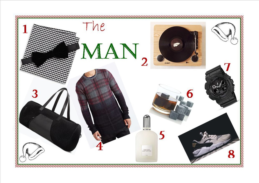 1)      Velvet Bow Tie & Gingham Pocket Square Set 2)      Ion Pro Sound USB Vinyl Record Player 3)      Soft Mesh Bowling Bag 4)      The Narrows Ombre Plaid Side-Zip Crew Neck Sweater 5)      Tom Ford Grey Vetiver Eau de Parfum 6)      Set of 12 Small Whiskey Rocks 7)      G Shock Oversized Analog/Digital Combo Watch, 55 x 51 mm  8)      NIKE Air Huarache - Ash Grey / Bamboo