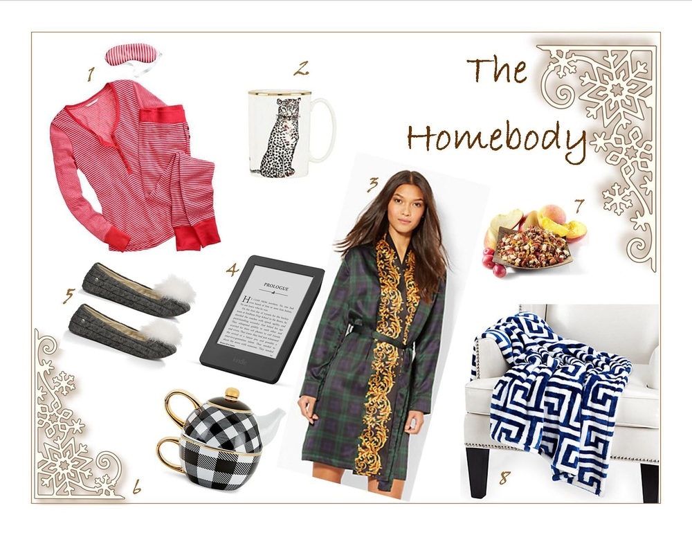 1)      Victoria Secret Fireside Long Jane Pajama 2)      Kate Spade Zoo Drive Mug, Snow Leopard 3)      Ralph Lauren Plaid Short Kimono Robe 4)      Kindle Touch 5)      Ugg Andi Slipper  6)      C. Wonder Buffalo Check Tea Set for One 7)      Teavana Peach Tranquility Herbal Tea 8)      Z Gallerie Mykonos Throw