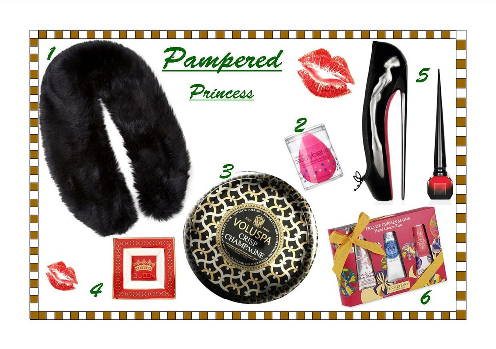 1)      Forever 21 Faux Fur Stole 2)      The Original Beauty Blender 3)      Voluspa Crisp Champagne Tin Candle 4)      C. Wonder Queen Porcelain Dish 5)      Rouge Louboutin Nail Laquer 6)      L'Occitane Hand Cream Set