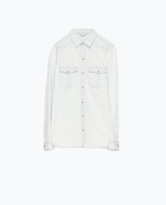 Zara: Bleached Denim Shirt $49.90
