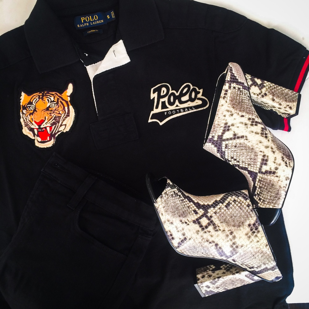 RL Tiger Polo  |  J Brand Maria Denim  |  Aldo Glossa mule