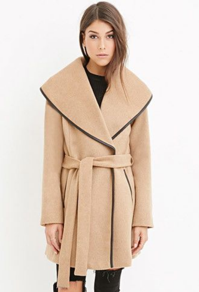Forever 21 Belted Wool-Blend Coat