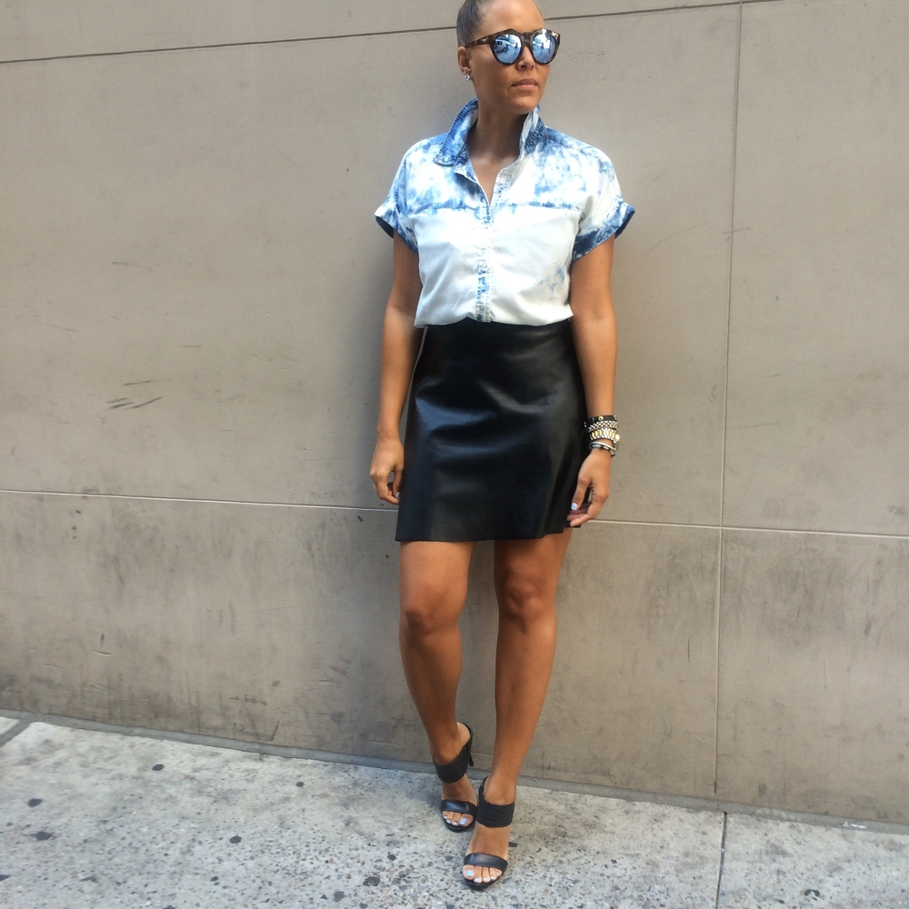 Denim and Leather Transition Style