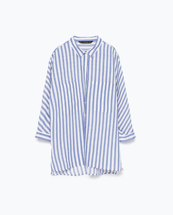 Zara Blue Striped Skirt with Kimono Sleeve