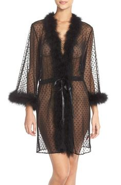 Feather Accent Sheer Short Robe, Betsy Johnson