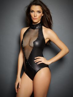 Sierra V Leather & Mesh Bodysuit