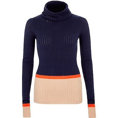 Color-Block Turtleneck