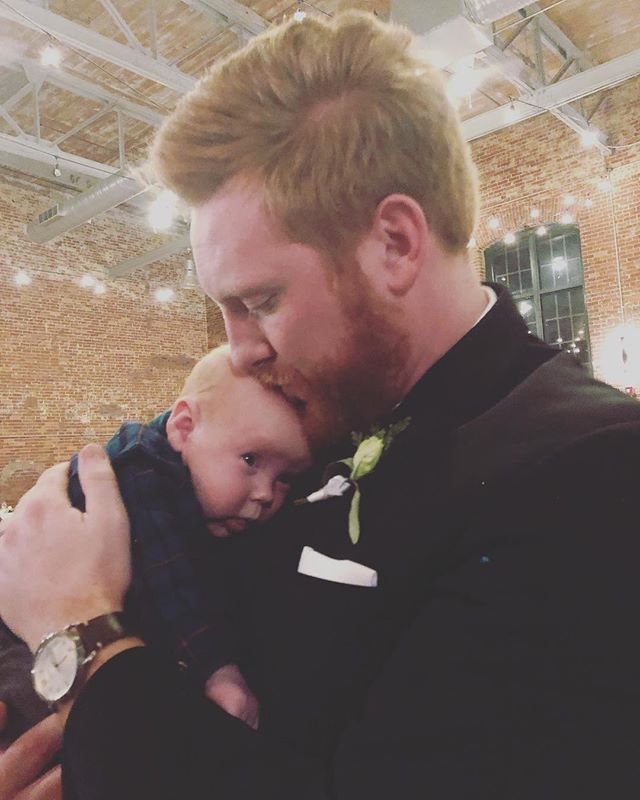 Really happy to see my brother, @mikeatkins13, have a little hang time with Ro. I think he likes him a little bit.  #babyson #uncle #gingers