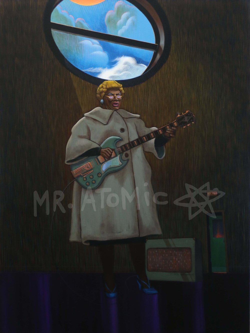 Blues Mama on Fire (Sister Rosetta Tharpe) - 3'x4'