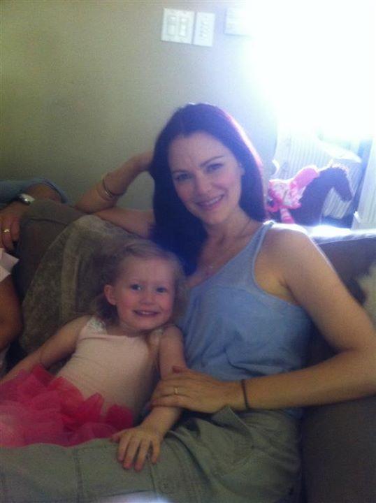 Abigail with Jacinda Barrett.