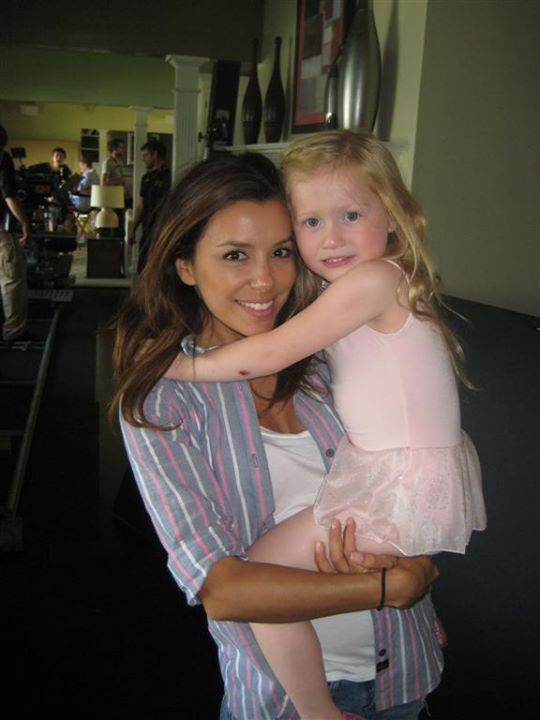 """Abigail with Eva Longoria on the set of the short """"A Proper Send Off""""."""