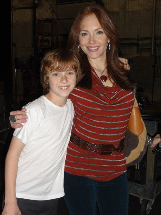 "Sam Adler and Amy Yasbeck on the set of ""Crash & Bernstein"" for the Disney Channel."