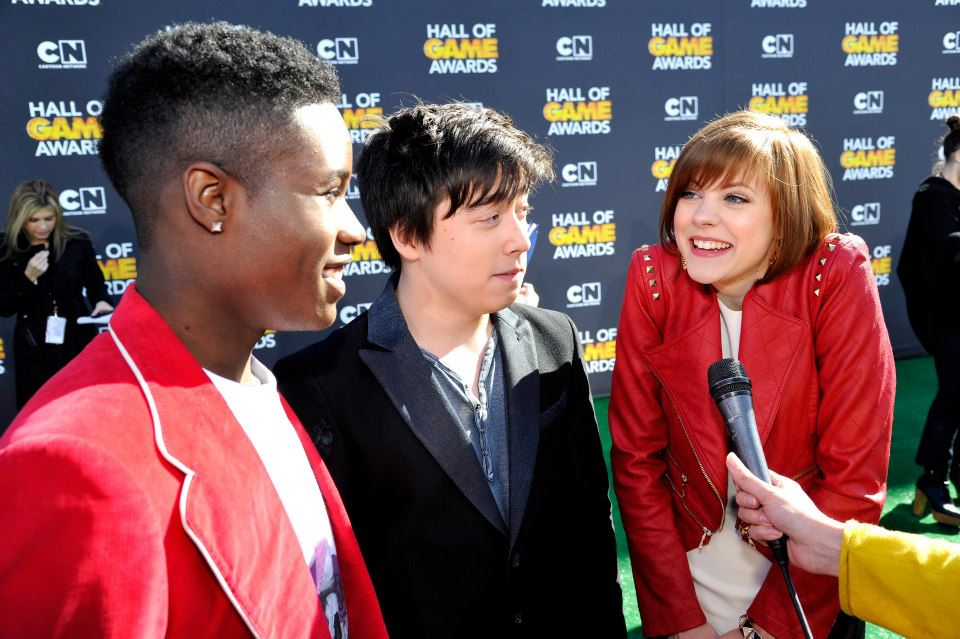 SANTA MONICA, CA - FEBRUARY 09: (L-R) Shameik Moore, Tristan Pasterick and Chanelle Peloso attend the Third Annual Hall of Game Awards hosted by Cartoon Network at Barker Hangar on February 9, 2013 in Santa Monica, California. 23270_002_SK_0045.JPG (Photo by John Sciulli/WireImage) 2013 WireImage     — at   Cartoon Network Hall of Game Awards  .