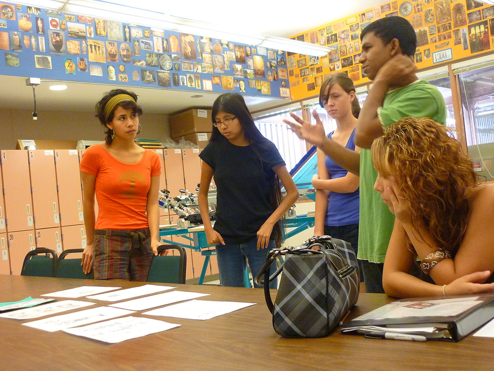 "In conversation with students at Marcos de Niza High School during ""What Would Marcos See"" workshop in 2009"