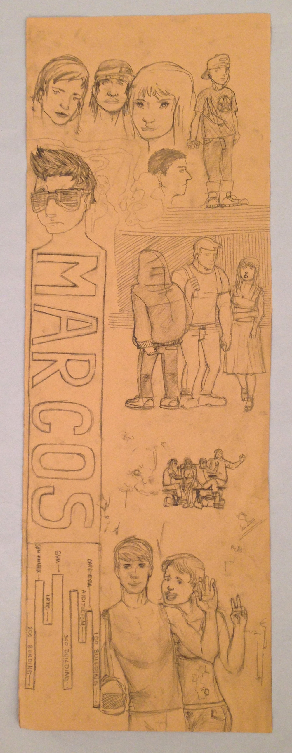 Student drawing of Marcos de Niza High School life