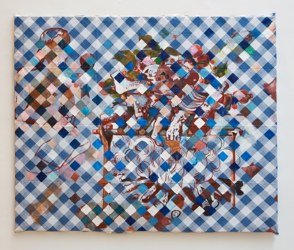 Feast , 2013, oil on stretched plastic tablecloth, 46 x 68 inches