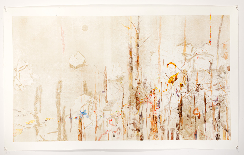 Pan-therion, 2014, pencil and watercolor on monotype, 30 x 60 inches