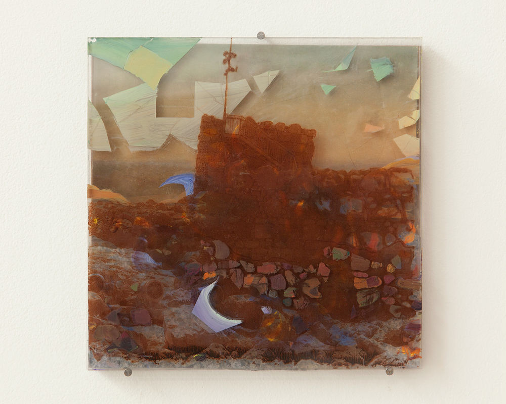 2014, Oil and silkscreen on plexiglass, photo, found material, 10 x 10 inches