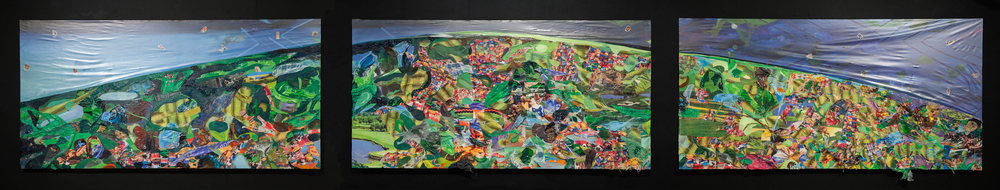 Screening for Adhesive Ancestors,  2015, oil, plastic, photo collage, and stickers on panel, 24 x 108 inches