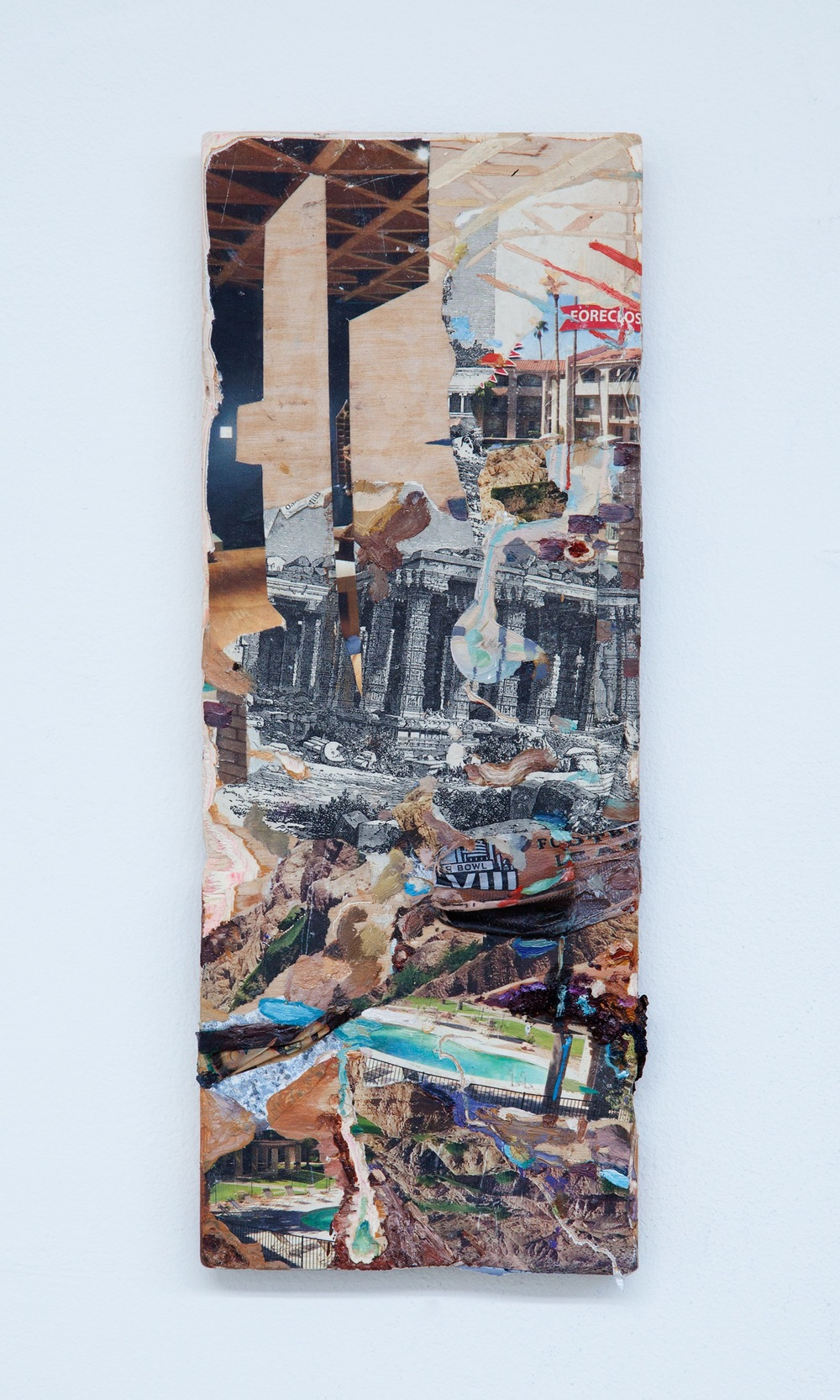 Poolslide , 2015, oil, antique etching, plastic, and real estate magazines on carved wood, 14 x 5 inches