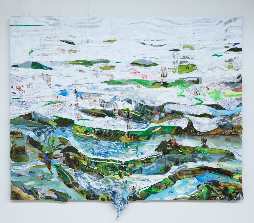 Tiers,  2015, oil, notebook paper, golf course calendars, skin whitening soap boxes, photos, and plastic on board, 48 x 60 inches