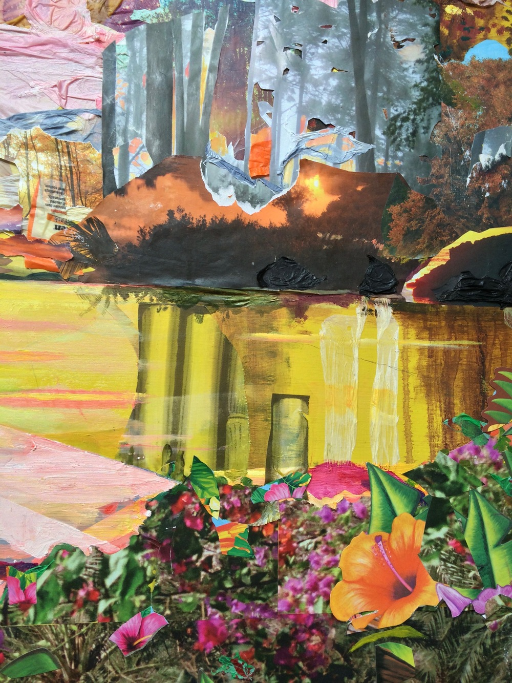 Sunset for Fred Church  (detail) ,  2016, acrylic, oil, plastic tablecloths, nature calendars, Top Ramen packaging, tiki party favors, plastic bag, and photos on board, 36 x 60 x 2 inches
