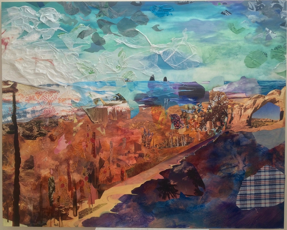 Leagues ,2016, oil, acrylic, plastic bags, plastic tablecloths, photos, nature calendars on wood panel, 48 x 96 inches
