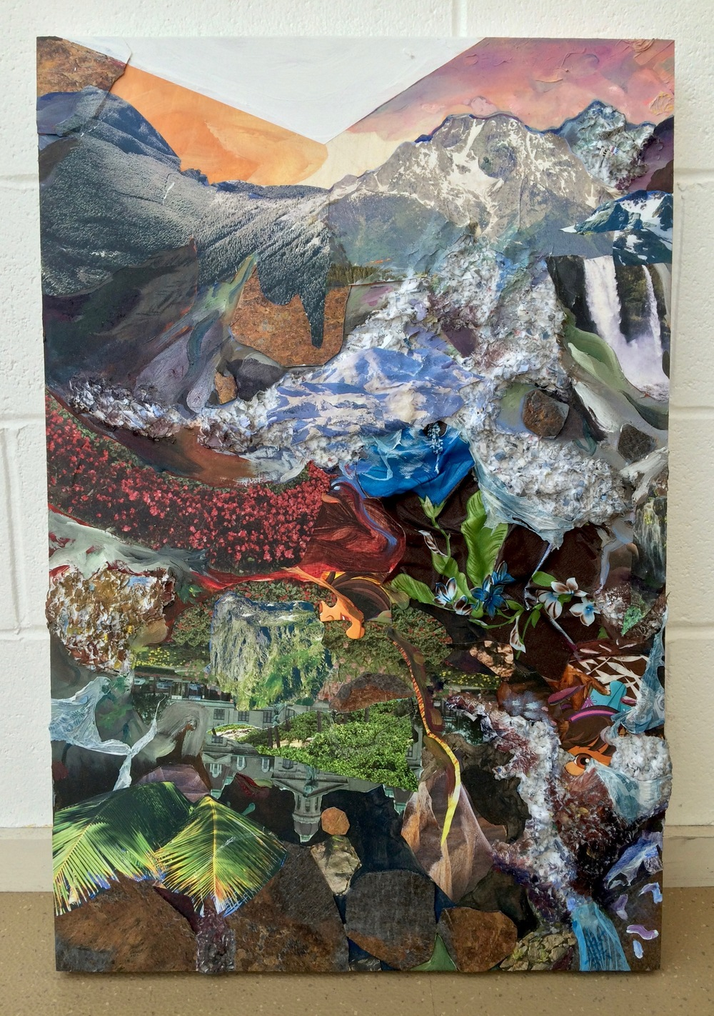 Everywhere I Want to See ,2016, oil, acrylic, nature calendars, linoleum, credit card bills, paycheck stubs, plastic tablecloths, and puzzle pieces on wood panel, 30 x 20 inches