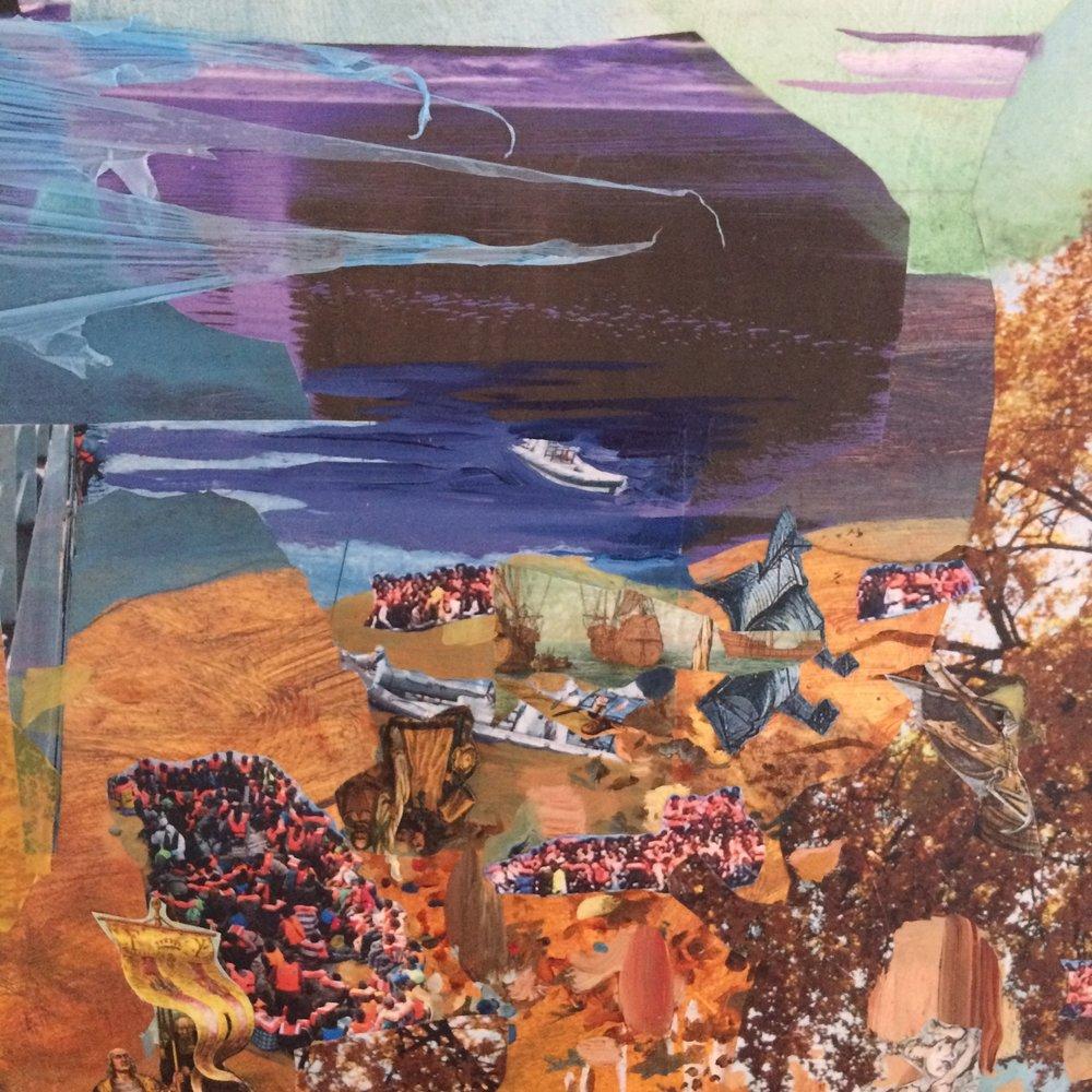 Leagues (detail) ,2016, oil, acrylic, plastic bags, plastic tablecloths, photos, nature calendars on wood panel